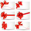 Set of gift card notes with red  bows and ribbons