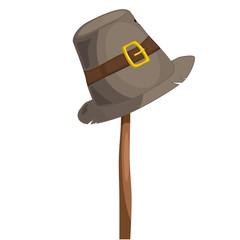 Hat beggar on a wooden pole. eps10