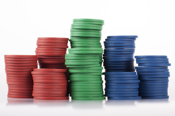 Rough Cheap Plastic Poker Chips in Stacks