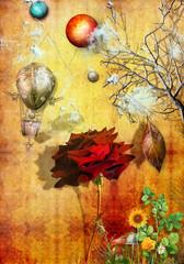 Autumn red rose.