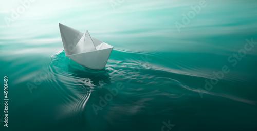 paper boat sailing - 45901459