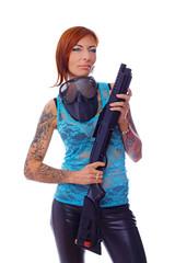 A pretty hooligan with a gun