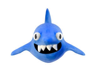 smiling clay shark isolated with clipping path