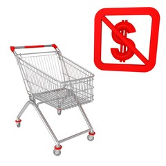 Shopping cart with dollar sign