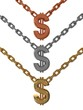 Golden bronze and silver dollar signs with chain