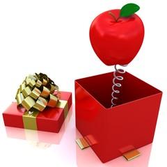 3d apple inside gift box