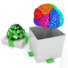 Open gift box with brain