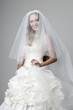 beautiful smiling girl in a wedding dress with a veil