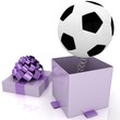 3d gift box with football ball