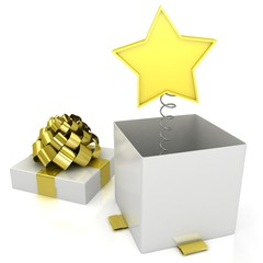 3d gift box with star