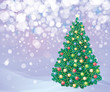 Christmas tree and decorations on winter background.