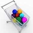 Постер, плакат: Shop cart with bowling balls