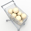 3D shopping cart with volleyball balls