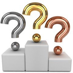 Golden, silver and bronze question mark