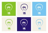 Vector colorful light bulbs icon set sign of creative invention poster