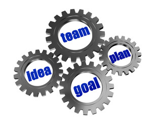 idea, team, plan, goal in silver grey gearwheels