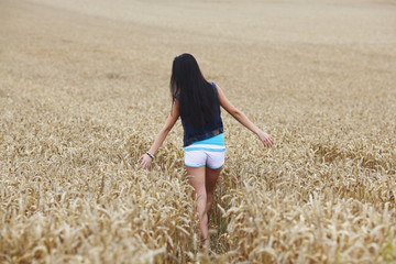 woman on wheat field