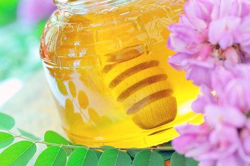 Honey in glass jar