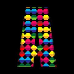 Alphabet Dots Color on Black Background A