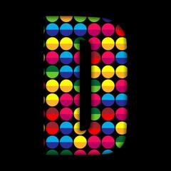 Alphabet Dots Color on Black Background D