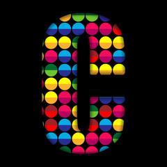 Alphabet Dots Color on Black Background C