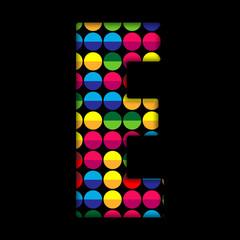 Alphabet Dots Color on Black Background E