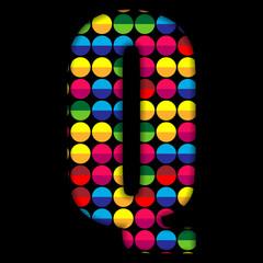 Alphabet Dots Color on Black Background Q