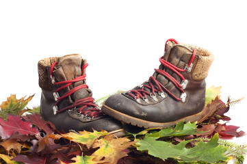 mountain boots on a autumn leaves carpet