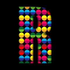 Alphabet Dots Color on Black Background R