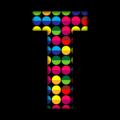 Alphabet Dots Color on Black Background T