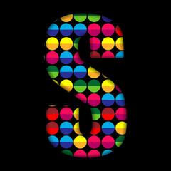 Alphabet Dots Color on Black Background S