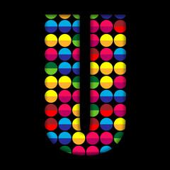 Alphabet Dots Color on Black Background U