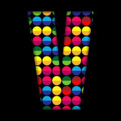 Alphabet Dots Color on Black Background V