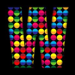 Alphabet Dots Color on Black Background W