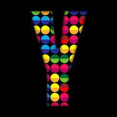 Alphabet Dots Color on Black Background Y