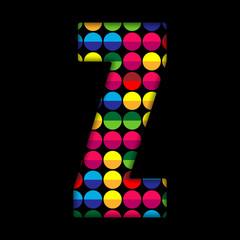 Alphabet Dots Color on Black Background Z