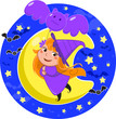 Halloween witch flying in the moonlight using a bat balloon.