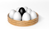 Black egg among white eggs in the basket