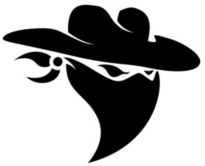 Thief Cowboy Mascot Tattoo Vector Illustration