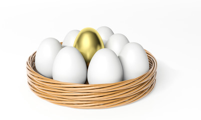 Gold egg among white eggs in the basket