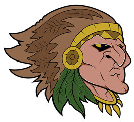 Red Indian Vector Mascot Tattoo