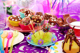 birthday party table with homemade  sweets for child