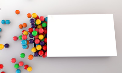 gumballs in a white box