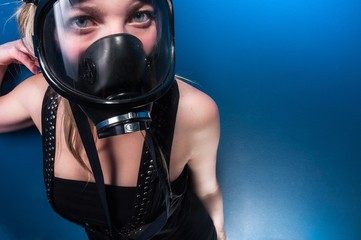 Woman in gasmask