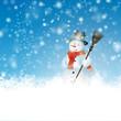 Schneemann, Schnee, blauer Himmel, schneiend, verschneit, Frost