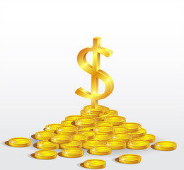 Symbol of Gold  Dollar with coins.  The concept of profit