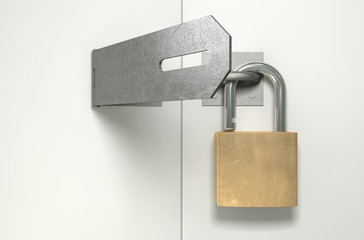 Padlock And Hasp Unlocked Front