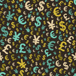 Abstract seamless pattern with money. Vector illustration.