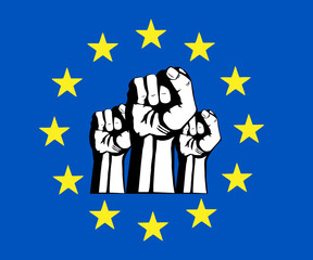 European Union fist, flag, protest.