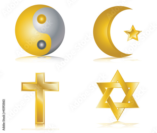 Four gold glossy icons for different religions vector
